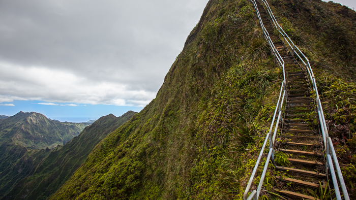 The Stairway to Heaven, or the Haiku Stairs, an adventure travel destination in Oahu, Hawaii.