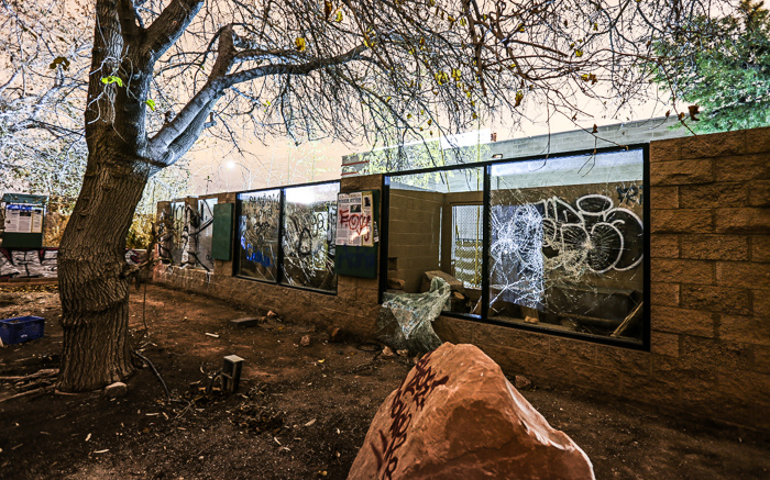 abandoned buildings and structures at the Las Vegas Zoo.