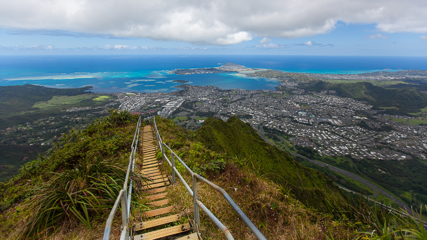 The Stairway to Heaven, or the Haiku Stairs, an adventure travel destination popular for sneaking into in Oahu, Hawaii.
