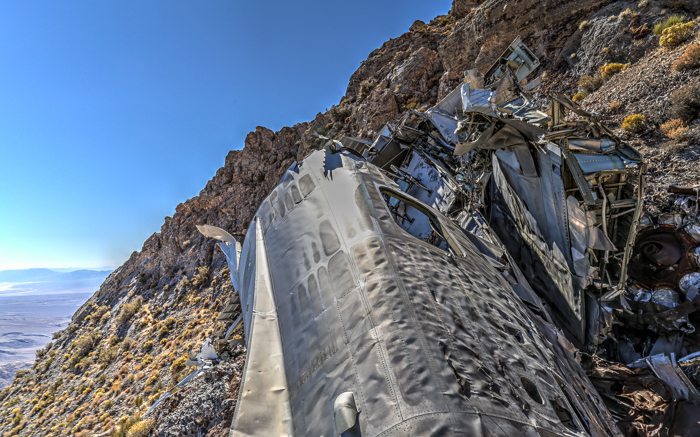 The plane crash site of the SA-16 Albatross Plane Wreck beneath Towne Peak in Death Valley National Park.