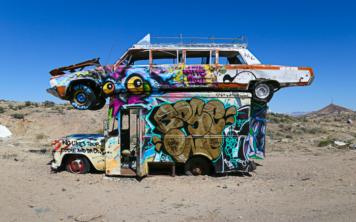 the international car forest of the last church, goldfield, nevada, land sculpture art installation