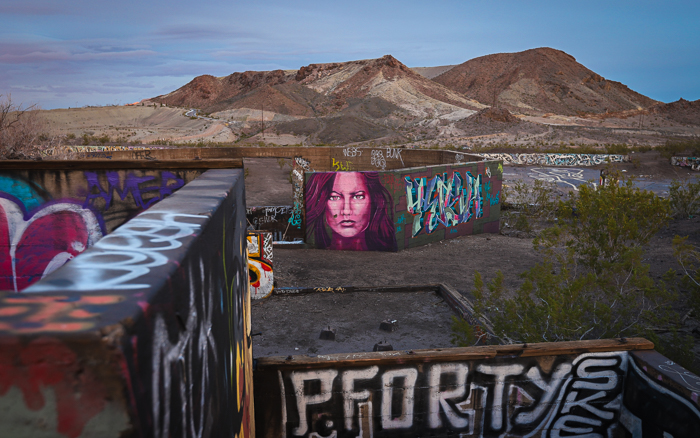 Three Kids Mine, graffiti mural art in the Las Vegas and Henderson city desert.