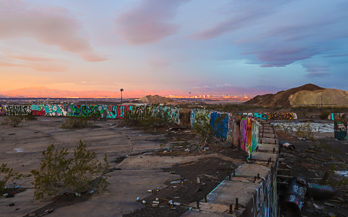 colorful sunrises over Clark County and the Las Vegas casino Strip, viewed from the abandoned Three Kids Mine.