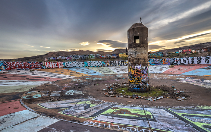 Wheel Of Misfortune graffiti mural by Indecline on the floor of the Three Kids Mine; Las Vegas, Nevada.